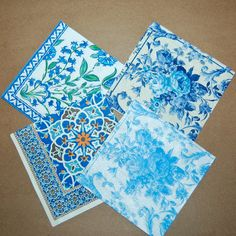 Decoupage Persian Blues III Set - 4 Paper Napkins for Decoupage, Collage… Persian Blue, Paper Napkins For Decoupage, Arts And Crafts, Paper Crafts, Butterfly House, Under The Sea Party, Paperchase, My Glass, Party Planning