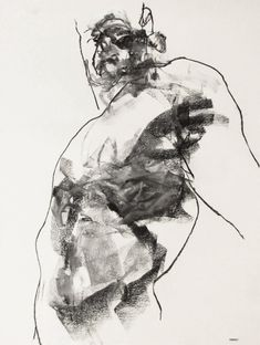 Expressive Male Figure Drawing - 18 x24, fine art - Drawing 145 - charcoal on paper - original drawing by Derek Overfield Art.