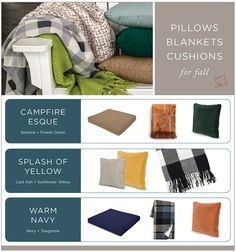 Pillows Blankets Cushions for Fall — Top 10 Fall Front Porch Decoration Ideas Back Patio, Cushions, Pillows, Porch Decorating, Shades Of Green, Front Porch, Color Combinations, Favorite Color, Fall Decor