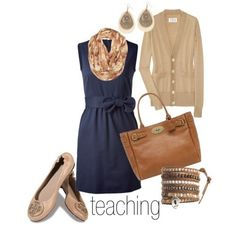 A great outfit for autumn with tights and boots or spring with pumps- teacher outfits on a budget