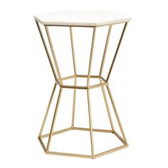 Hexagonal Marble Top Accent Table with Gold Base