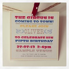 Vintage Circus Invitation (Boy)  50p each