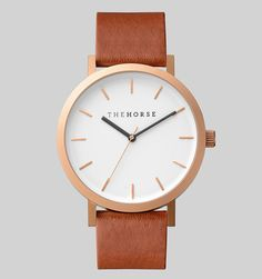 The Horse  A simple take on the classic time-teller. Featuring a sandblasted IP rose gold coated stainless steel case, white face with minimalist markers and premium walnut leather band. The Horse logo lettering on dial and at buckle closure.  Please note our watches are designed to fit wrists with circumferences of approximately 14-20cm.    129$