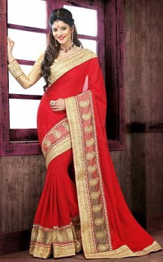 Exotic #Red Color Embroidered #Saree from http://www.indiandesignershop.com/product/exotic-red-color-embroidered-saree-4/