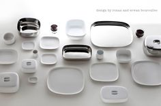 ovale stoneware and stainless steel tableware collection for alessi by ronan and erwan bouroullec