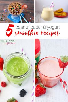 5 delicious peanut butter & yogurt-based smoothies - a Sundae smoothie, an Elvis smoothie, a berry green smoothie, a strawberry PB&J smoothie, and even an iced coffee smoothie! Easy smoothie recipes that can be whipped together in just a couple minutes and are better for you. #MySmoothie ad