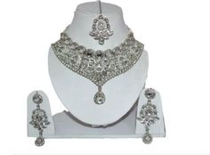 White-Women-Silver-Tone-Necklace-Earring-Maang-Tikka-Wedding-Bridal-Jewelry-Set