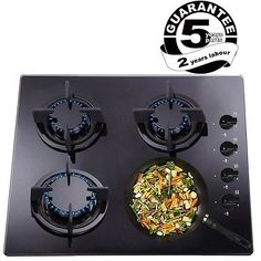 SIA GHG602BL 60cm Deluxe 4 Burner Gas on Glass Hob + Cast Iron Pan Supports