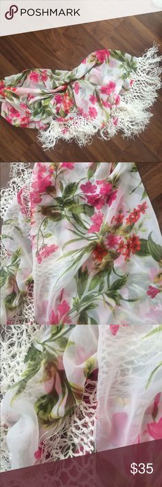 Stunning Silk bathing suit cover! Floral, bright and stunning bathing suit cover Swim Sarongs