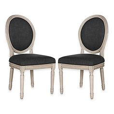 Safavieh Holloway Oval Side Chairs in Charcoal Grey Linen (Set of 2)