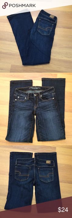 """Like new American Eagle jeans Beautiful dark wash jeans! Favorite Boyfriend Stretch; these are size 6 Long. 5 pocket flare. 32"""" inseam 7.5"""" front rise. 98% cotton 2% elastane. Pre owned but never worn. American Eagle Outfitters Jeans Flare & Wide Leg"""