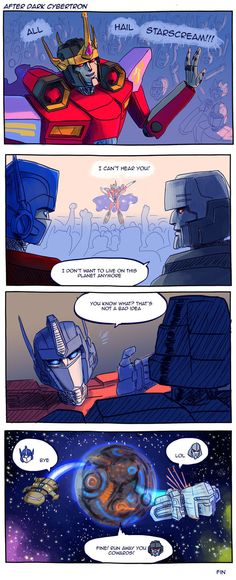What really happened. Transformers belong to Hasbro etc. After Dark Cybertron Transformers Funny, Transformers Humanized, Optimus Prime, After Dark, Funny Comics, Funny Cute, Just In Case, Robot, Otp