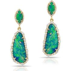 Anne Sisteron 14kt Rose Gold Opal and Diamond Organic Double Drop Earrings as seen on Carrie Underwood