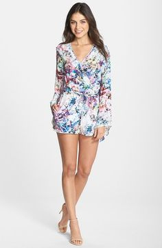 Free shipping and returns on Charlie Jade Floral Print Silk Long Sleeve Surplice Romper at Nordstrom.com. A busy floral print attracts attention to a flirty silk romper designed with a surplice neckline, flared long sleeves and a flattering drawstring waist.