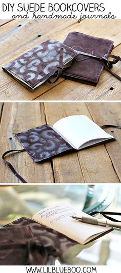 DIY Suede Covers and handmade journals by Ashley Hackshaw///// SIMPLE AND LOVELY IDEA!