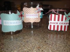 DIY candy jars I made for my daughter's sweet 16 circus themed party. Simple decor embellishes a jar.