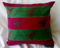 Christmas Pillow Cover Red and Green Trees Upcycled by debupcycles, $18.00