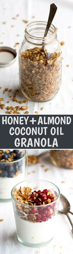 Honey Almond Coconut Oil Granola - Crunchy granola loaded with almonds and sweetened with honey. So good! #coconutoil #granola #homemadegranola #honey | Littlespicejar.com