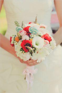 bouquet mariée wedding rouge red bleu blue