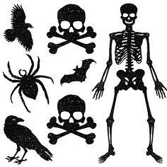 Silhouettes-raven,skulland crossbones,spider,skeleton,bat