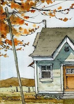 Fall Watercolor, Art Painting, Landscape Paintings, Pen And Watercolor, Painting, Watercolor House Painting, Watercolor Architecture, Watercolor Landscape Paintings, Art