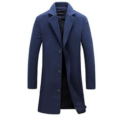 Men's Party Daily Simple Casual Winter Fall Trench Coat,Solid Shirt Collar Long Sleeve Long Cotton 2017 - $22.39
