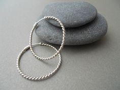 Twisted hoop earrings, silver hoops, hypoallergenic hoops, vintage hoop design, twisted hoopla, hoops for gift, gift ideas, valentine gift. by VickyKyritsi on Etsy
