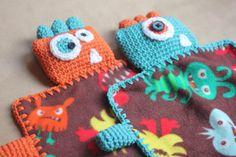 Monster Fleece Lovey Blankets - Repeat Crafter Me Crochet Bookmark Pattern, Crochet Bookmarks, Crochet Ideas, Crochet Edgings, Pattern Sewing, Free Pattern, Crochet Lovey, Crochet Yarn, Craft Ideas