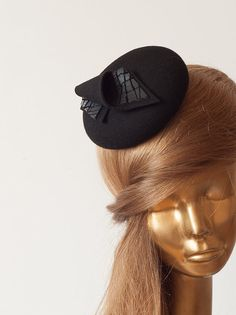 Amazing BLACK FASCINATOR.Mini Hat for Women.Black Felt Cocktail Hat . on Etsy, $63.96 CAD