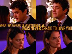 """Day 6 Favorite Pacey Quote To/About Joey: """"When I was afraid of everything else I was never afraid to love you."""" Dawson's Creek - Pacey to Joey Dawsons Creek Quotes, Dawsons Creek Pacey, Joey Dawson's Creek, Dawson Creek, Tv Show Quotes, Movie Quotes, Pacey Witter, Joey Potter, Tv Couples"""