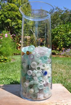 Sea glass bottlenecks. What an amazing array of b necks. I only have 2 or 3 after 5 yrs. of collecting sea glass.