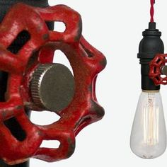 Vintage Upcycled Valve Pipe Pendant Light – Red Cloth Cord by Hammers Heels