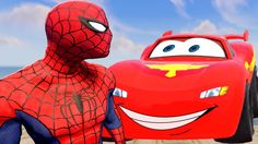 Spiderman Riding Disney Cars Lightning McQueen Eating Hot Dog - SuperHer...