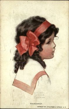 Little Girl w Red Bow in Hair A/S Bessie Pease Gutmann c1910