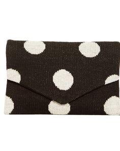 Knit Polka Dot Clutch