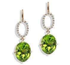 Twinkle Twinkle peridot oval drop earrings with diamond pavé oval in gold by Jane Taylor