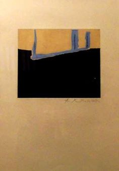 Robert Motherwell ~ Untitled (Opening), 1975. Aquatint, 22 x 30 inches (probably paper size, rather than image size)