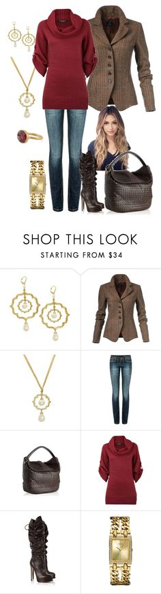 """""""Fall Brown/Red/Gold"""" by manda3482 ❤ liked on Polyvore featuring French Kiss, MANGO, Bottega Veneta, Dorothy Perkins, Brian Atwood, GUESS and Marie Hélène de Taillac"""
