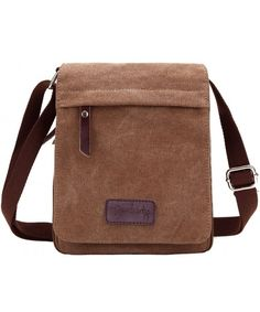 0d8cd0e0f4 Small Vintage Canvas+Leather Messenger Cross body bag Pack Organizer -  Coffee - C711OF8HEXB