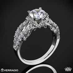 Rose gold - Verragio 4 Prong Pave Wrap Diamond Engagement Ring from the Verragio Insignia Collection. Verragio Engagement Rings, 3 Stone Engagement Rings, Designer Engagement Rings, Rose Gold Engagement Ring, Diamond Wedding Rings, Diamond Rings, Unique Rings, Beautiful Rings, Ring Verlobung