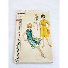 Simplicity 3866 Womans Culotte Skirt Top Sewing Pattern Size 12 60s Vintage Uncut #sew #vintageskirt #60svintage #vintage60s Print Patterns, Sewing Patterns, Simplicity Patterns, Vintage Skirt, Vintage Sewing, Gifts For Women, Size 12, Skirts, Tops