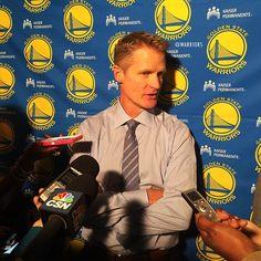 Steve Kerr minutes before making his NBA coaching debut in the season opener. #DubNation