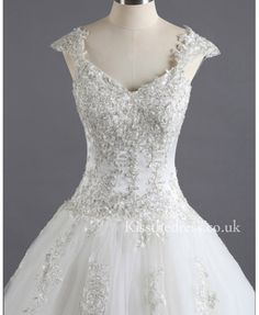 Ivory Lace Tulle Sweetheart Princess Wedding Dress With Straps SL026 - Kissthedress.co.uk