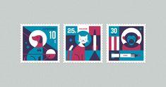 Space Animal Stamp Series by Eric  Mortensen.   www.ericmortensen.com