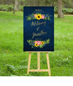 $20 on ETSY | The SAM . Welcome Wedding Ceremony Sign . Gold Calligraphy & Navy Chalkboard . Sunflower Hot Pink Ranunculus Delphinium . Custom Flowers PDF by BuffyWeddings on Etsy