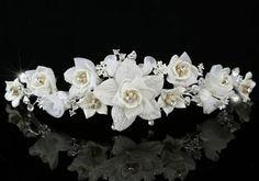 Wedding Bridal Ivory Flower Fabric Crystal Handmade Tiara Crystaliiz http://www.amazon.com/dp/B00DY0WMN6/ref=cm_sw_r_pi_dp_tfhiub19H63HY