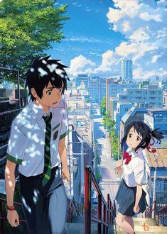 "Kimi no na wa "" Your name "" anime Poster Art Silk wall decor size Anime Vf, Otaku Anime, Anime Boys, Watch Your Name, Film 2016, Mitsuha And Taki, Kimi No Na Wa Wallpaper, Your Name Wallpaper, Humour Geek"