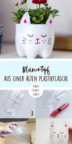 DIY - Basteln und Selbermachen Upcycling: cat flower pot from an old plastic bottle # flo Plastic Bottle Crafts, Diy Bottle, Recycle Plastic Bottles, Plastic Cups, Recycled Art Projects, Upcycled Crafts, Diy And Crafts, Flower Pot Crafts, Flower Pots