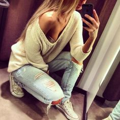 ☮✿★ Girl ✝☯★☮ white baggy sweater + ripped light washed jeans with white studs converse # beautiful hair