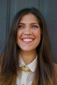 UGA student Bronze Cardigan White Shirt Bronze Buttons Bronze Necklace